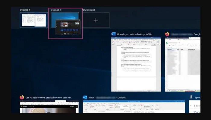 Move windows between virtual desktops