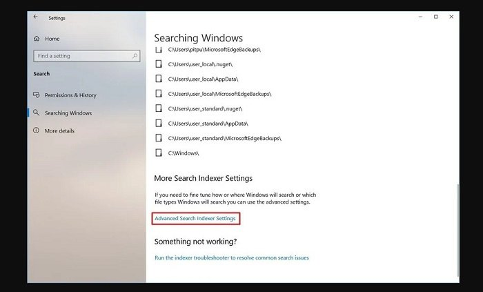 Disable search indexing in Windows