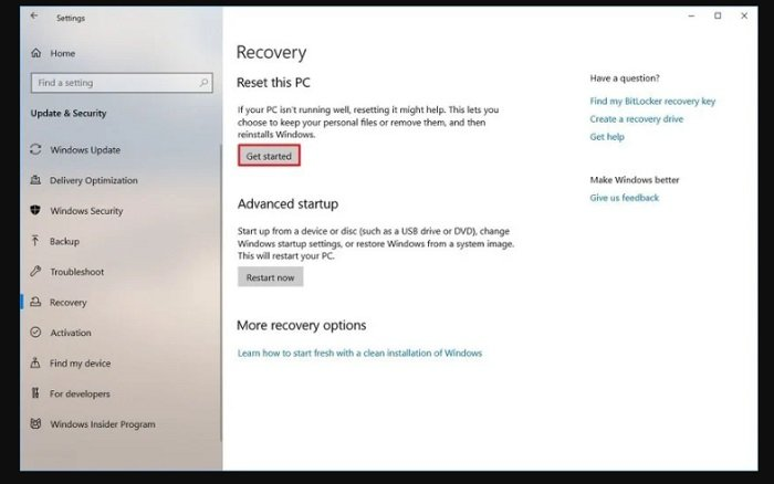 Reset your device in Windows