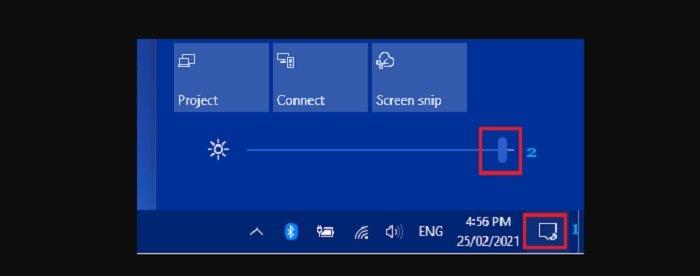 change the screen brightness in Windows 10
