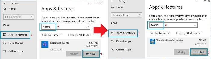remove Microsoft Teams on Windows